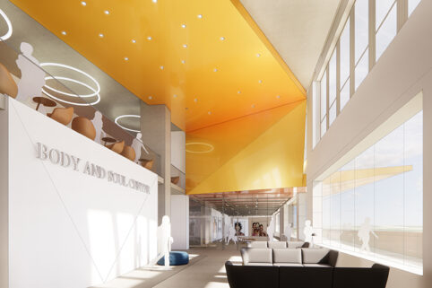 A rendering of the Body & Soul Center lobby