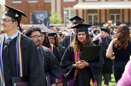 Group of Albion College students on graduation day.