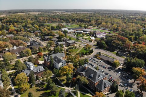 Aerial view of the Albion College campus.