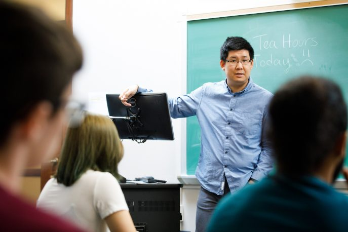 Albion College faculty member addresses a classroom of Albion College students