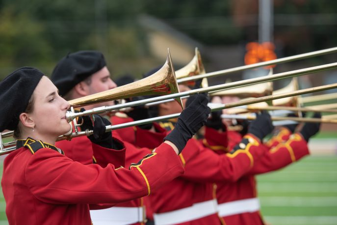Members of the Albion College marching band.