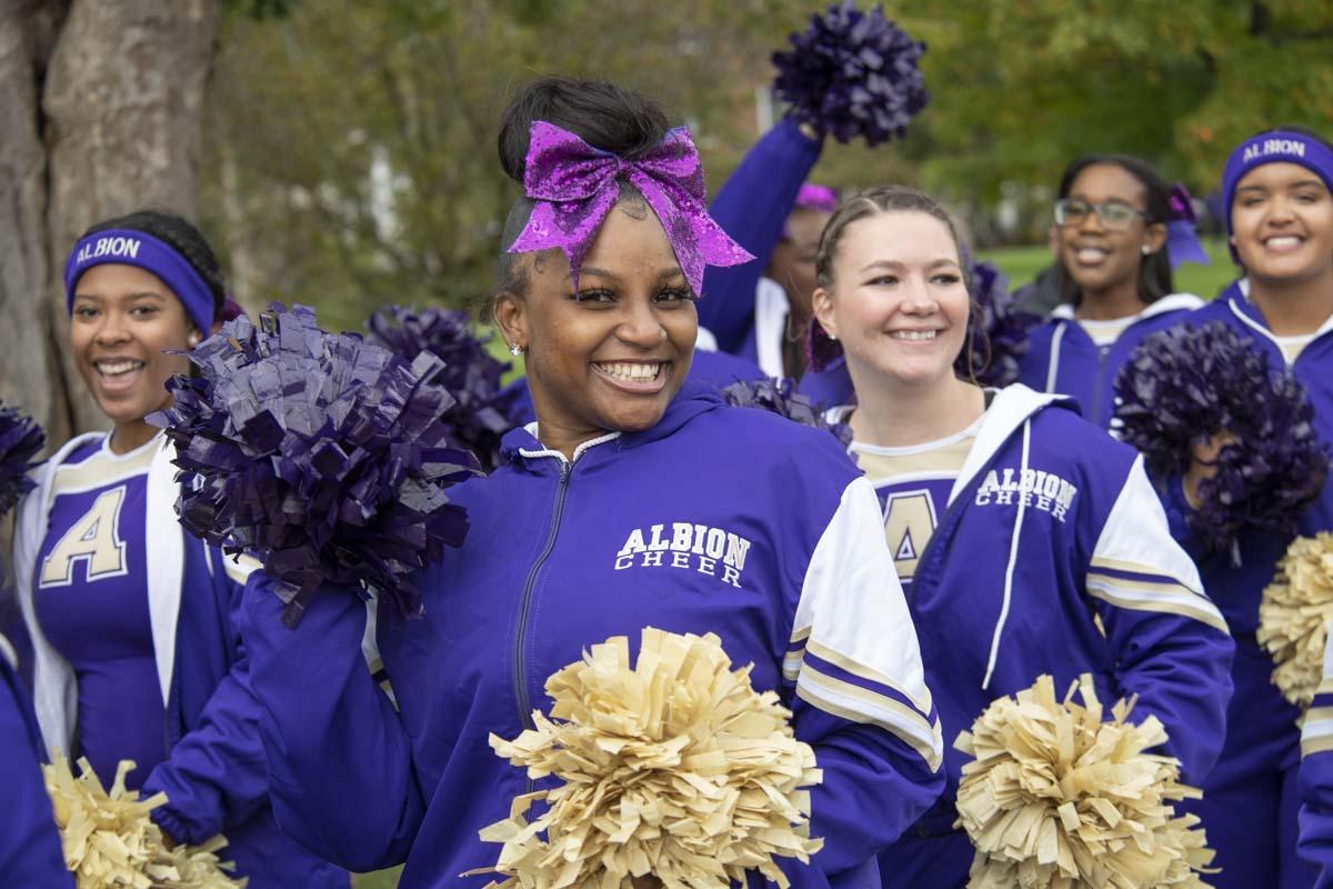 Members of Albion College Cheer Team.