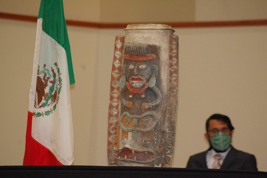 Mayan urn repatriated by Albion College to Mexico, April 13, 2021.