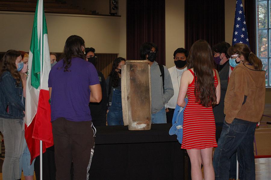 Albion College students, Mayan urn artifact repatriation, Goodrich Chapel, April 13, 2021.
