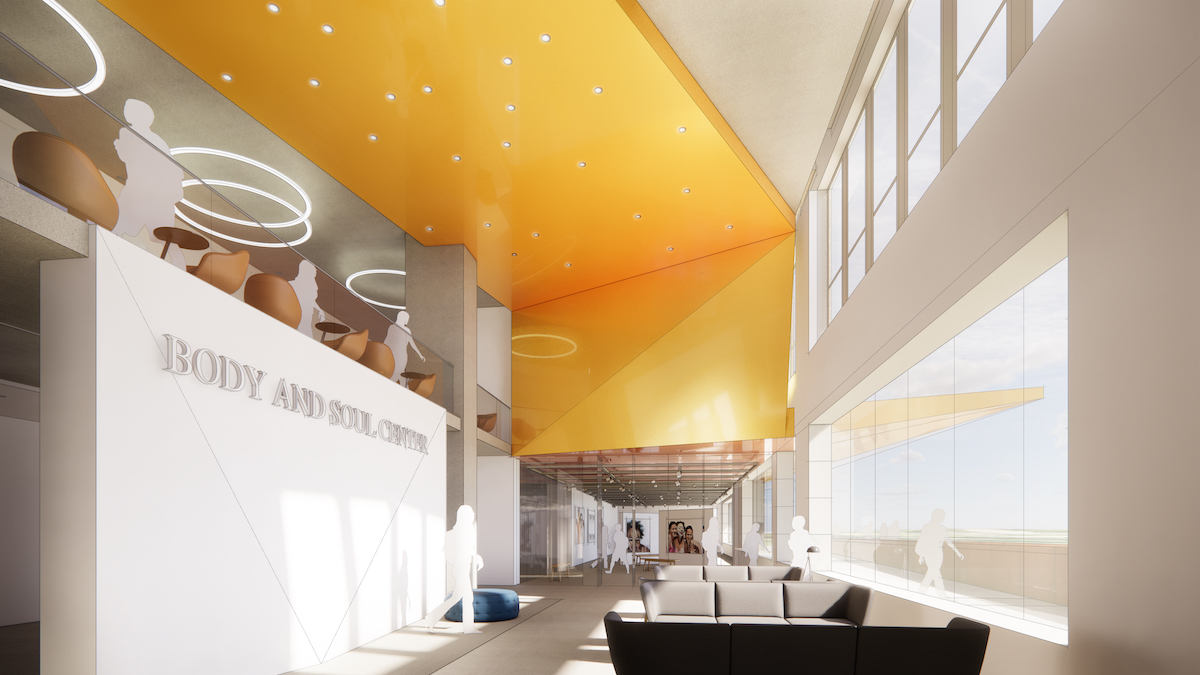 Architectural Rendering of the inside of the new Body & Soul Center.