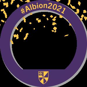 A circular Facebook frame that reads #Albion2021