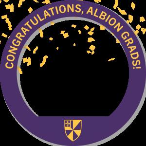 A circular Facebook frame that reads Congratulations, Albion Grads