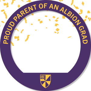 A circular Facebook frame that reads Proud Parent of an Albion Grad
