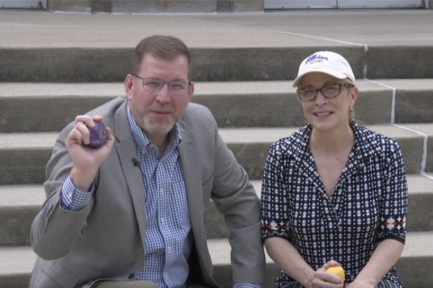President Mathew Johnson and Dr. Shannon O'Neill on the steps of Kresge