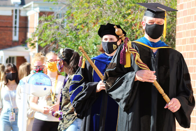 Faculty processing during matriculation.