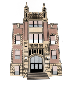 The façade of Washington Gardner school