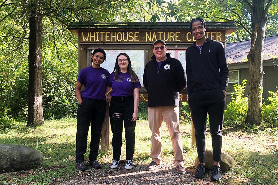 From left: Tanya Jagdish, '22; Enisa Muhaxhiri, '22; Whitehouse Nature Center Director Jason Raddatz, '91; Rodney Mitchell, '24.