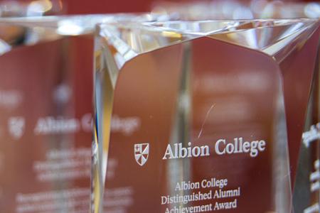 Distinguished Alumni Awards trophies.