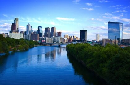 The Philadelphia skyline with the river in the foreground